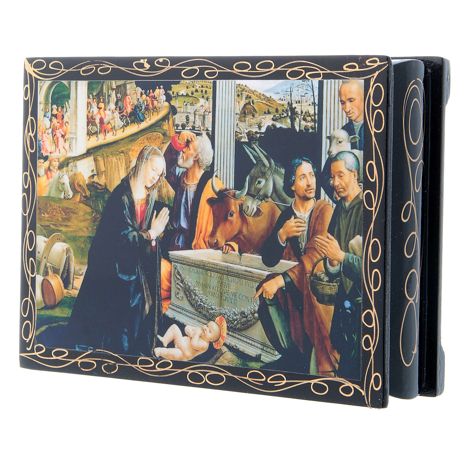 Russian lacquer box, Adoration of the Shepherds 14x10 cm 4