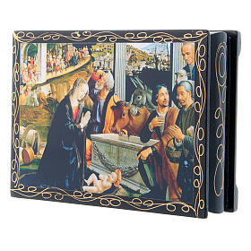 Russian lacquer box, Adoration of the Shepherds 14x10 cm s3