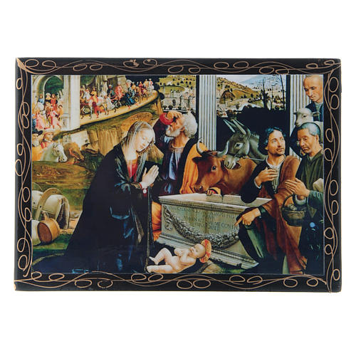 Russian lacquer box, Adoration of the Shepherds 14x10 cm 1