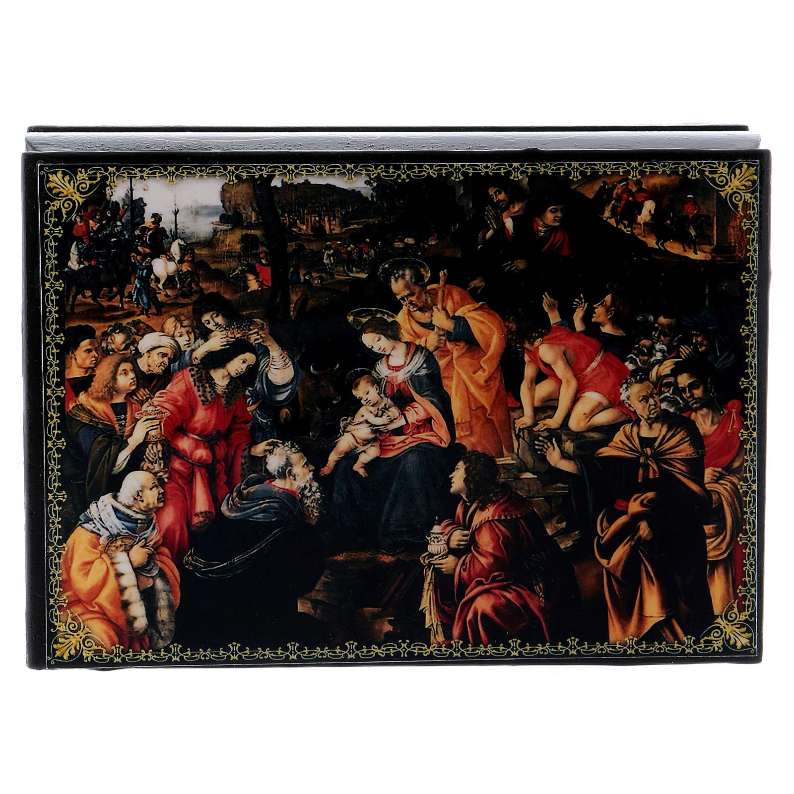 Russian papier-mâché and lacquer painted box The Adoration of the Three Wise Men 14x10 cm 4