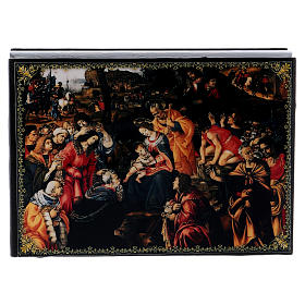 Russian papier-mâché and lacquer painted box The Adoration of the Three Wise Men 14x10 cm s1