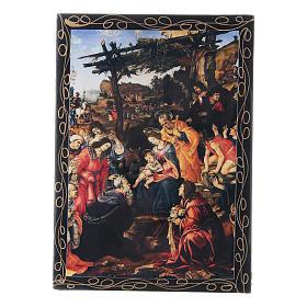 Scatola russa decorata L'Adorazione dei Magi 14X10 cm s1