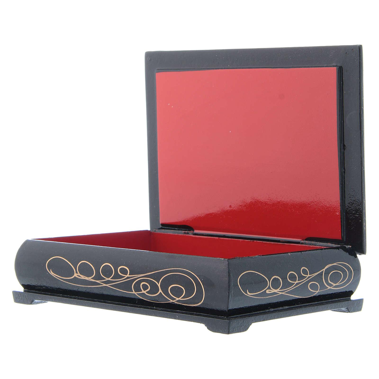 Russian lacquer box, Flight into Egypt 14x10 cm 4