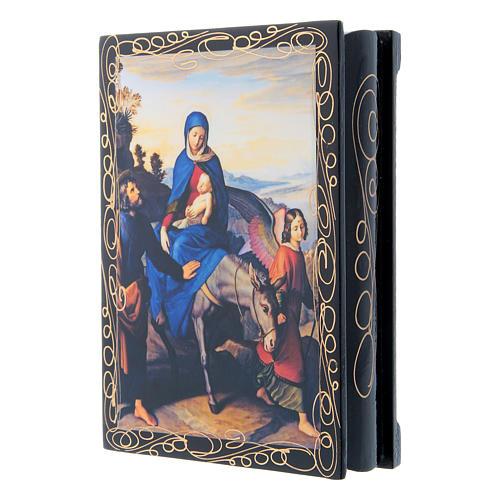 Russian lacquer box, Flight into Egypt 14x10 cm 2