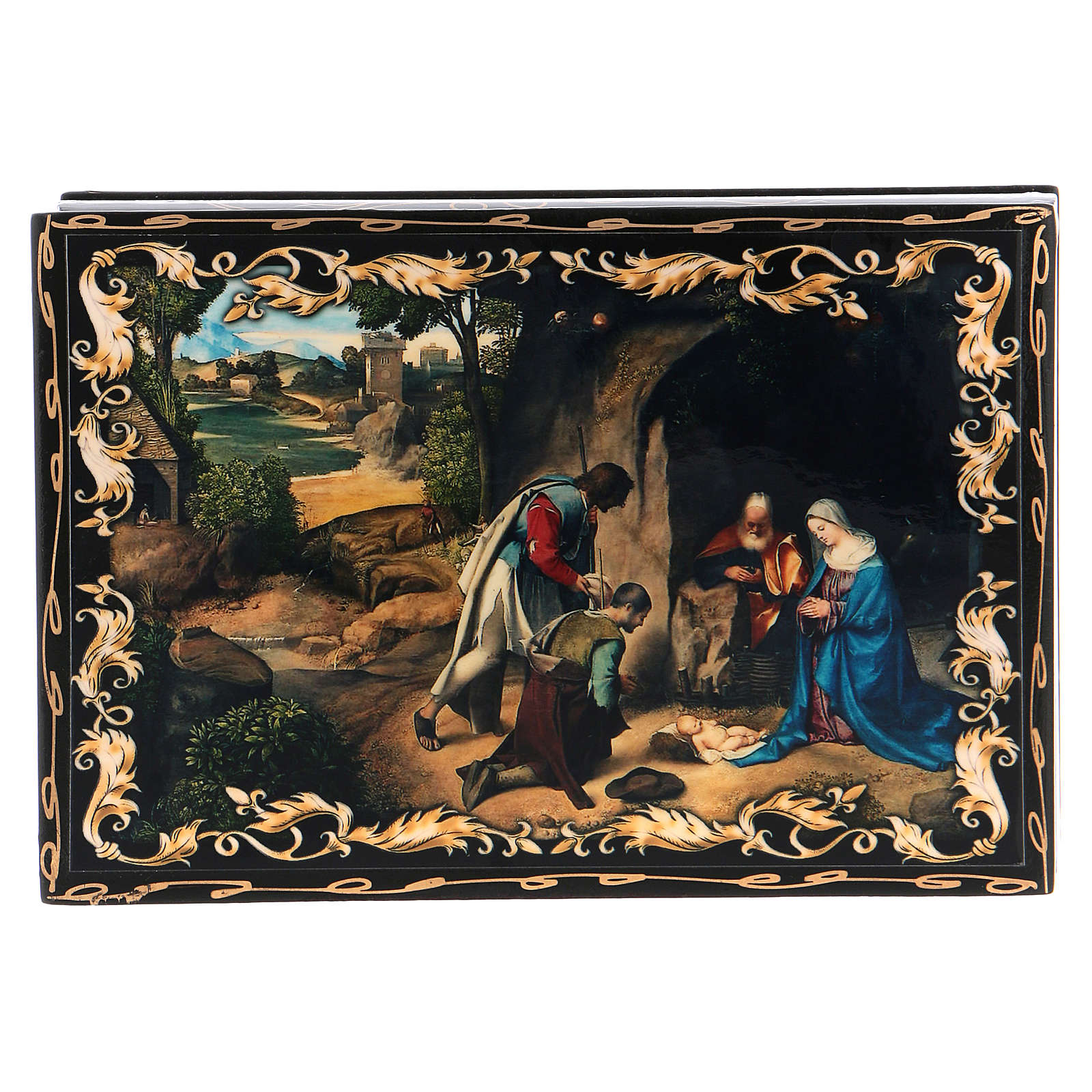 Russian papier-mâché and lacquer painted box The Adoration of the Shepherds 14x10 cm 4