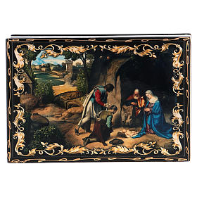 Russian papier-mâché and lacquer painted box The Adoration of the Shepherds 14x10 cm s1