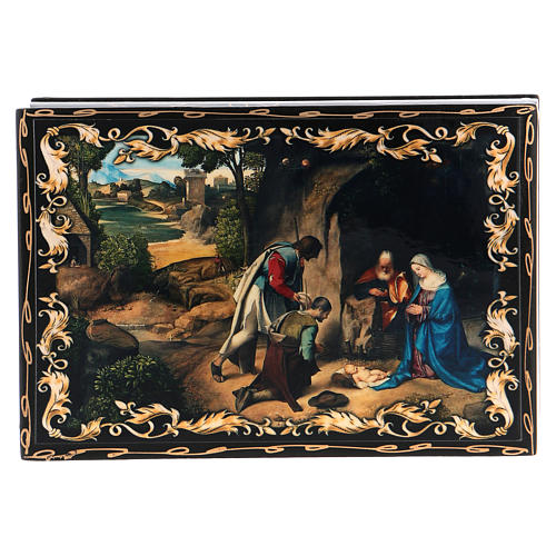 Russian papier-mâché and lacquer painted box The Adoration of the Shepherds 14x10 cm 1