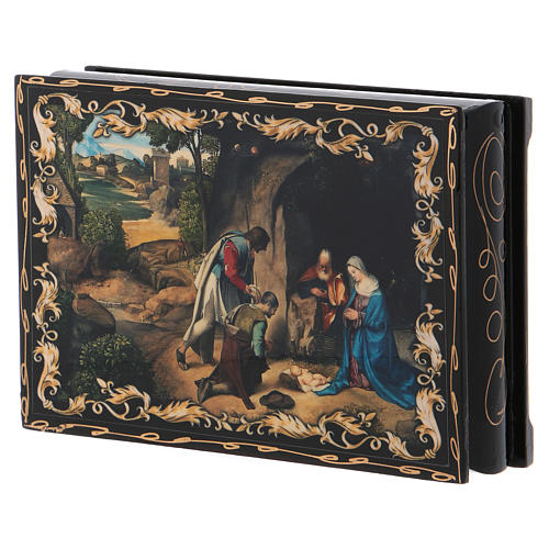 Russian papier-mâché and lacquer painted box The Adoration of the Shepherds 14x10 cm 2