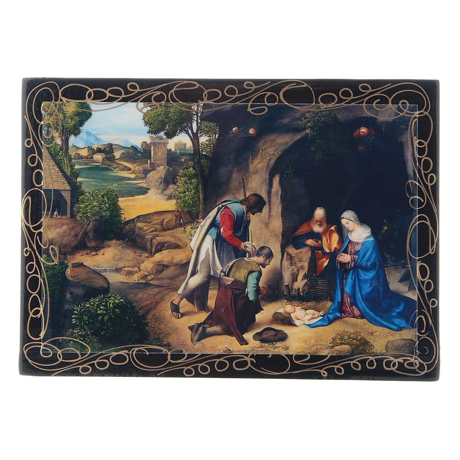 Scatoletta dipinta russa L'Adorazione dei pastori 14X10 cm 4