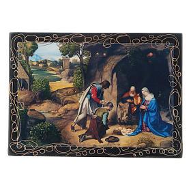 Scatoletta dipinta russa L'Adorazione dei pastori 14X10 cm s1