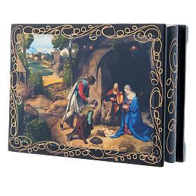 Scatoletta dipinta russa L'Adorazione dei pastori 14X10 cm s2