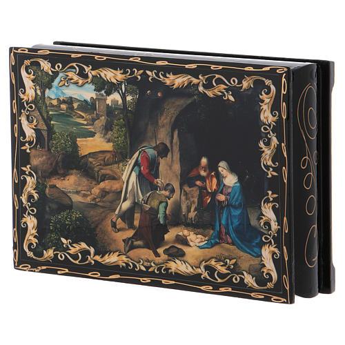 Scatoletta dipinta russa L'Adorazione dei pastori 14X10 cm 2