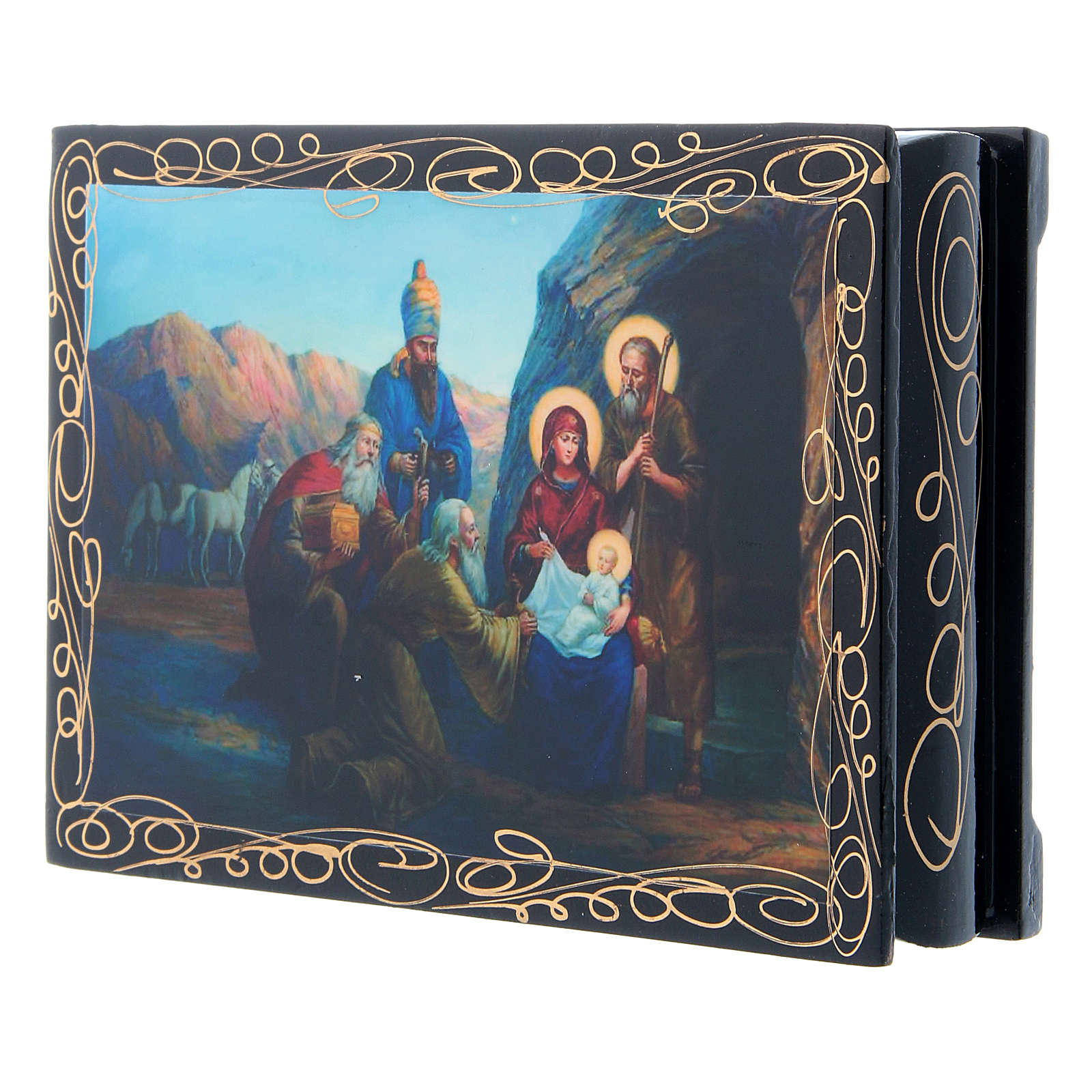 Russian papier-mâché and lacquer painted box The Birth of Jesus and the Adoration of the Magi 14x10 cm 4