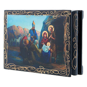 Russian papier-mâché and lacquer painted box The Birth of Jesus and the Adoration of the Magi 14x10 cm s2
