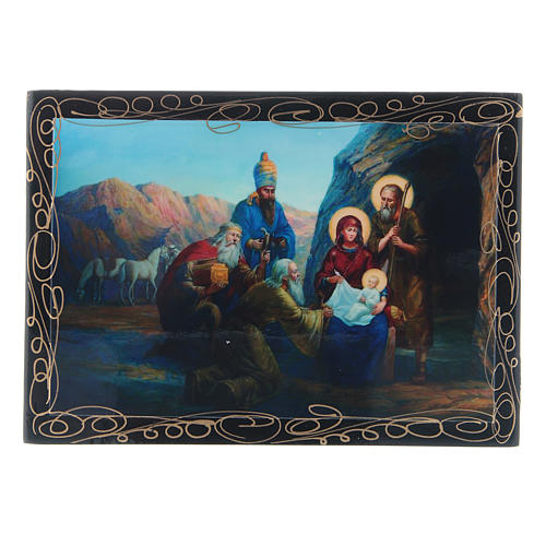Russian papier-mâché and lacquer painted box The Birth of Jesus and the Adoration of the Magi 14x10 cm 1