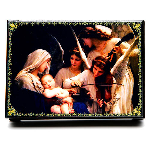 Scatoletta russa cartapesta Il Canto degli Angeli 14X10 cm 1