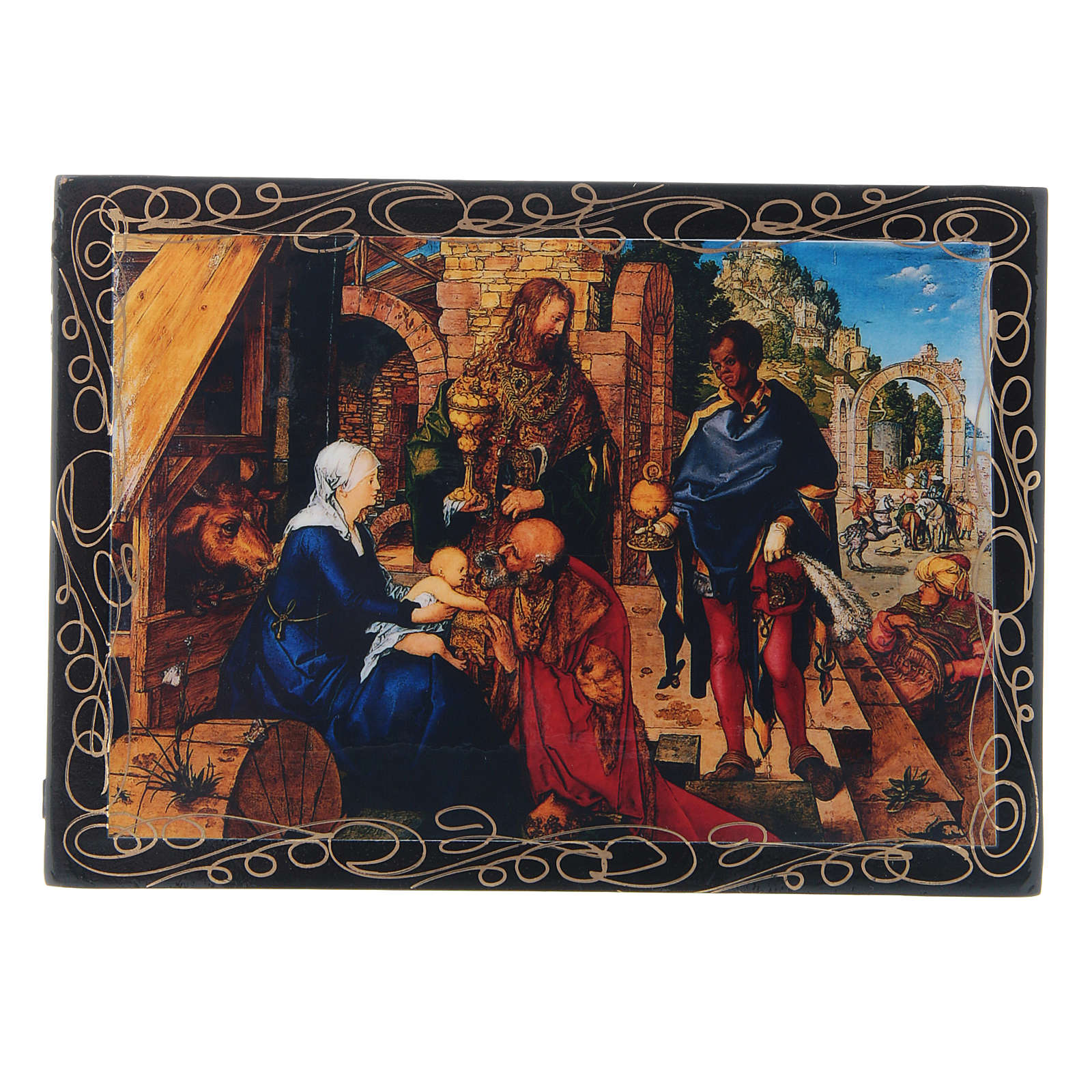Russian lacquer box, Adoration of the Magi 14x10 cm 4