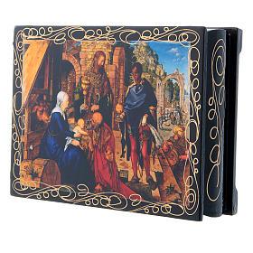 Russian lacquer box, Adoration of the Magi 14x10 cm s2