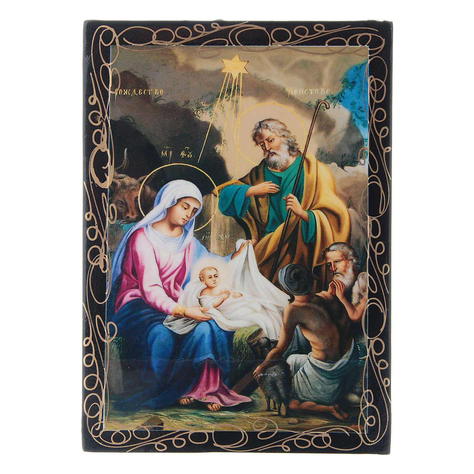 Russian lacquer box, Nativity 14x10 cm 4