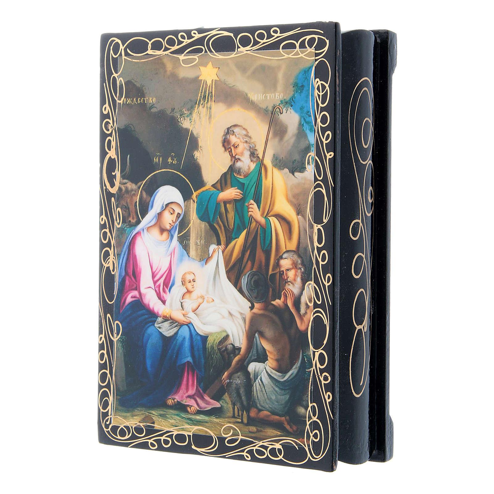 Caixinha decorada russa O Nascimento de Cristo 14x10 cm 4