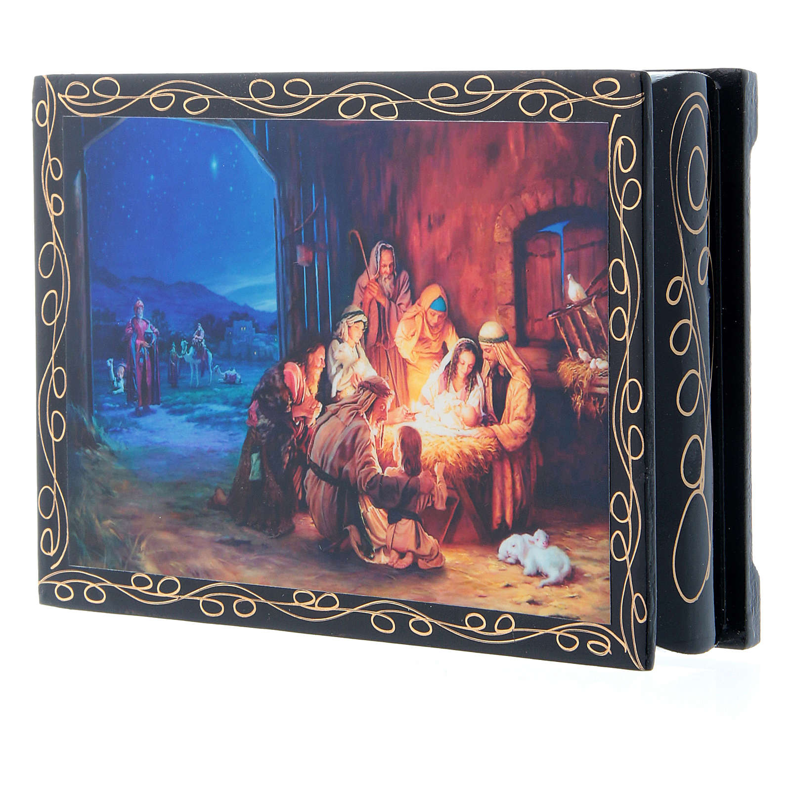 Russian papier-mâché and lacquer painted box The Birth of Jesus Christ and the Adoration of the Magi 14x10 cm 4