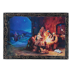 Russian papier-mâché and lacquer painted box The Birth of Jesus Christ and the Adoration of the Magi 14x10 cm s1