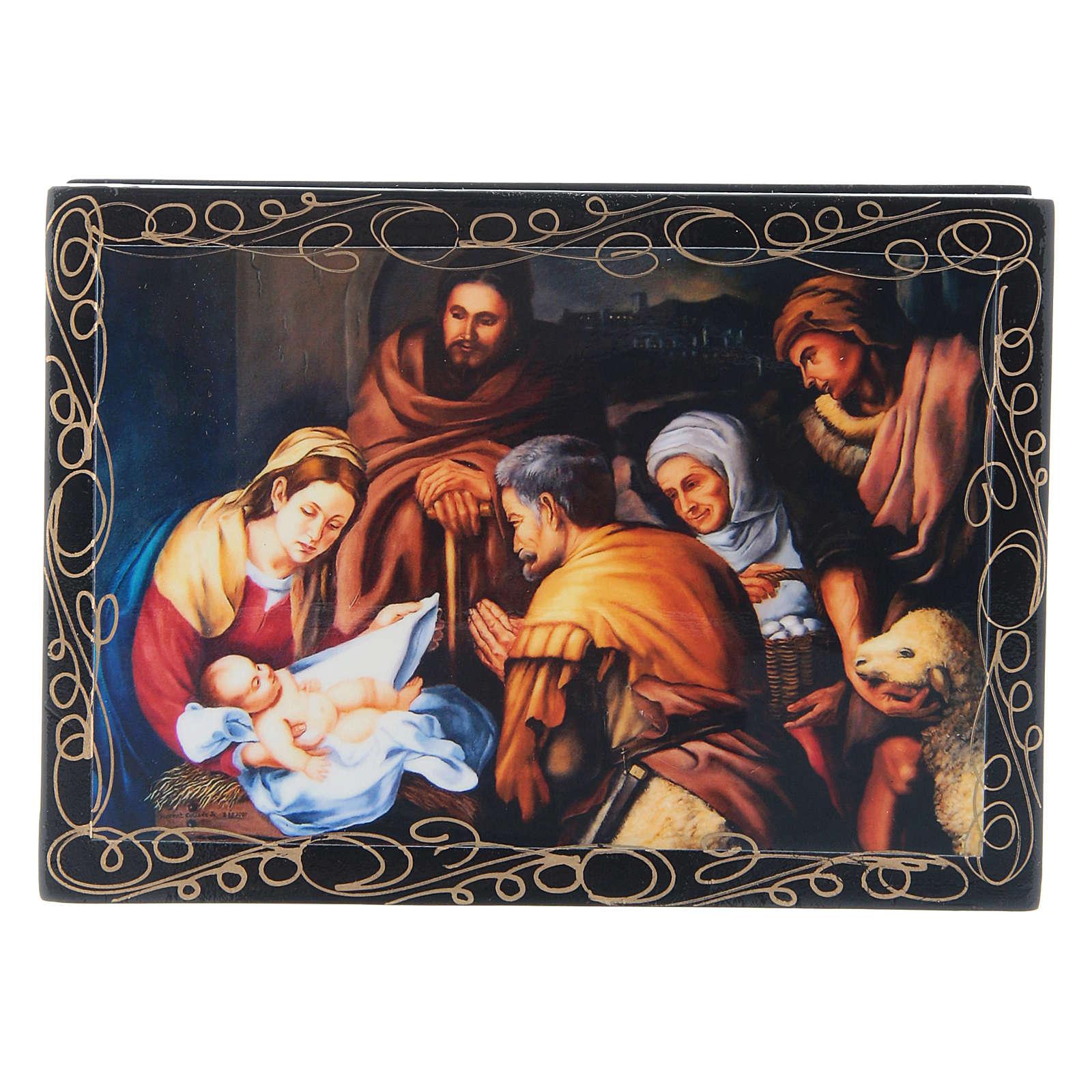 Lacca cartapesta russa decorata La Nascita di Cristo 14X10 cm 4
