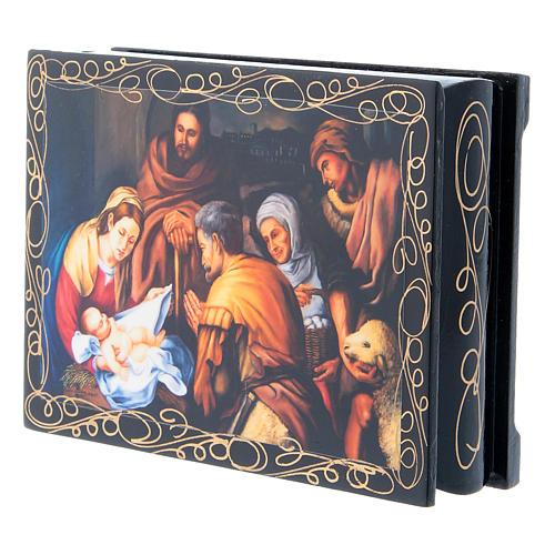 Lacca cartapesta russa decorata La Nascita di Cristo 14X10 cm 2