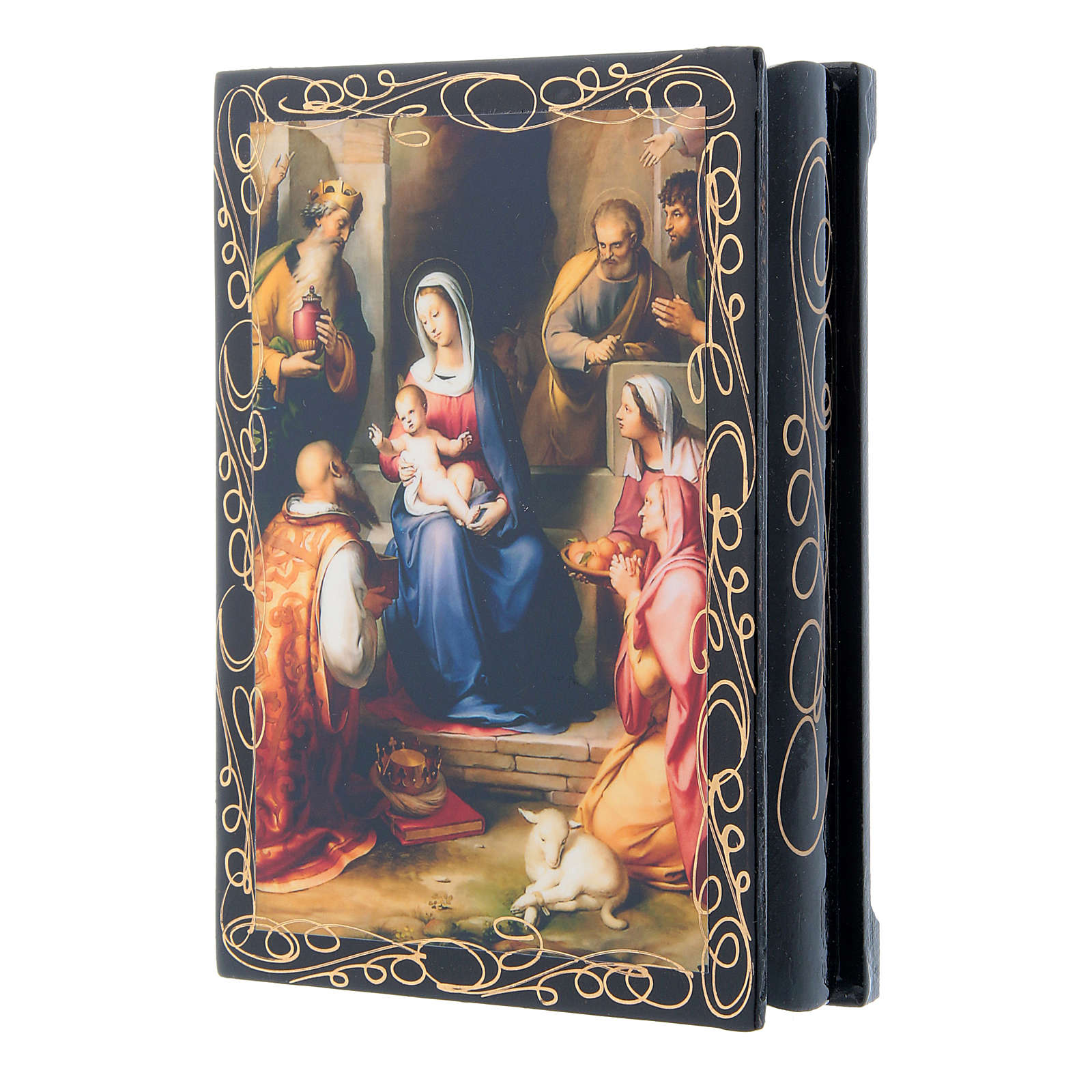 Russian papier-mâché and lacquer painted box Gerburt Christi (The Nativity) 14x10 cm 4