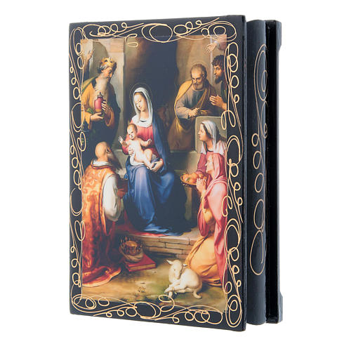 Russian papier-mâché and lacquer painted box Gerburt Christi (The Nativity) 14x10 cm 2