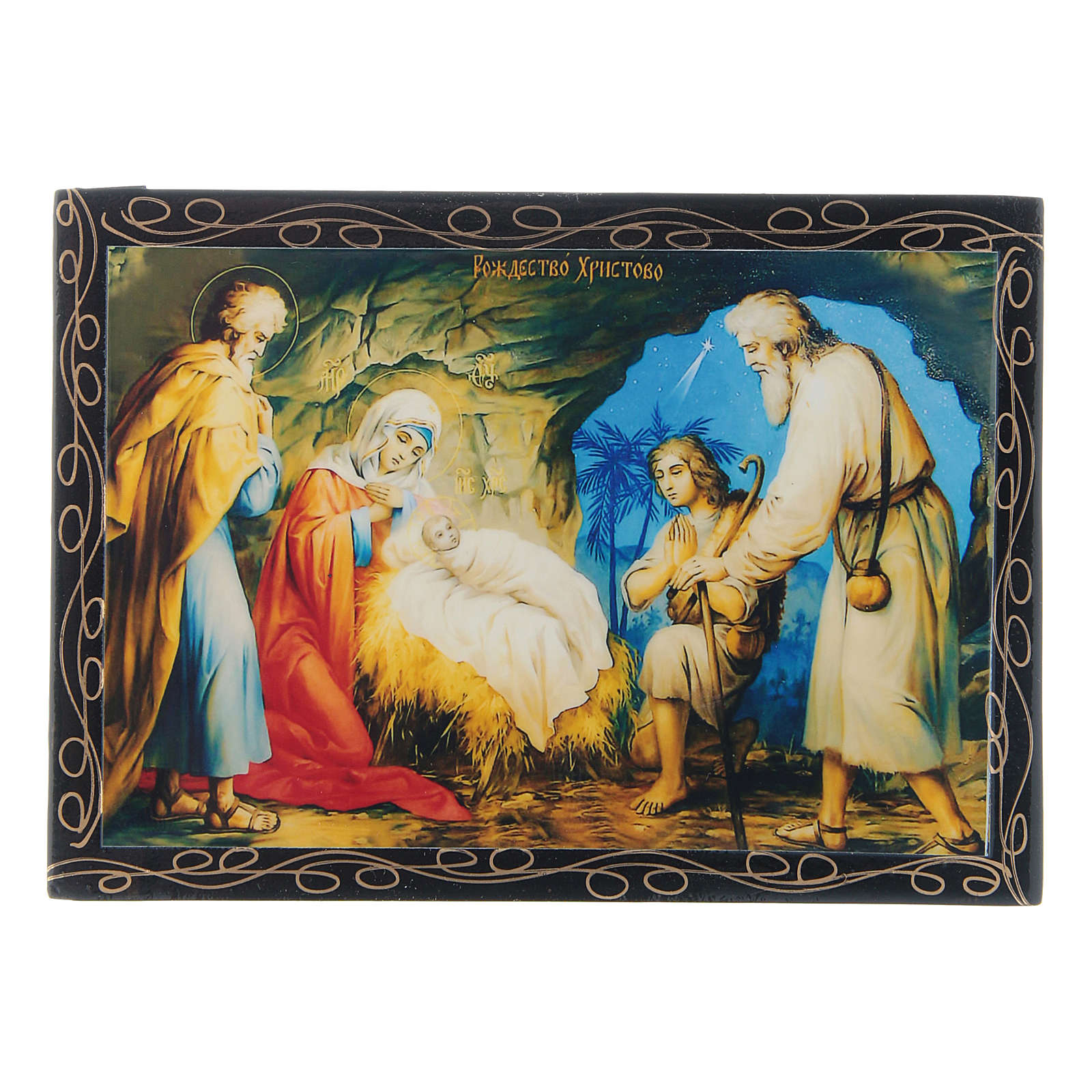 Russian papier-mâché and lacquer painted box The Birth of Jesus 14x10 cm 4
