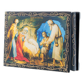 Russian papier-mâché and lacquer painted box The Birth of Jesus 14x10 cm s2