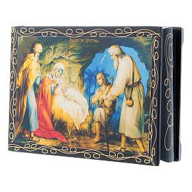 Scatola cartapesta russa La Nascita di Gesù Cristo 14X10 cm s2