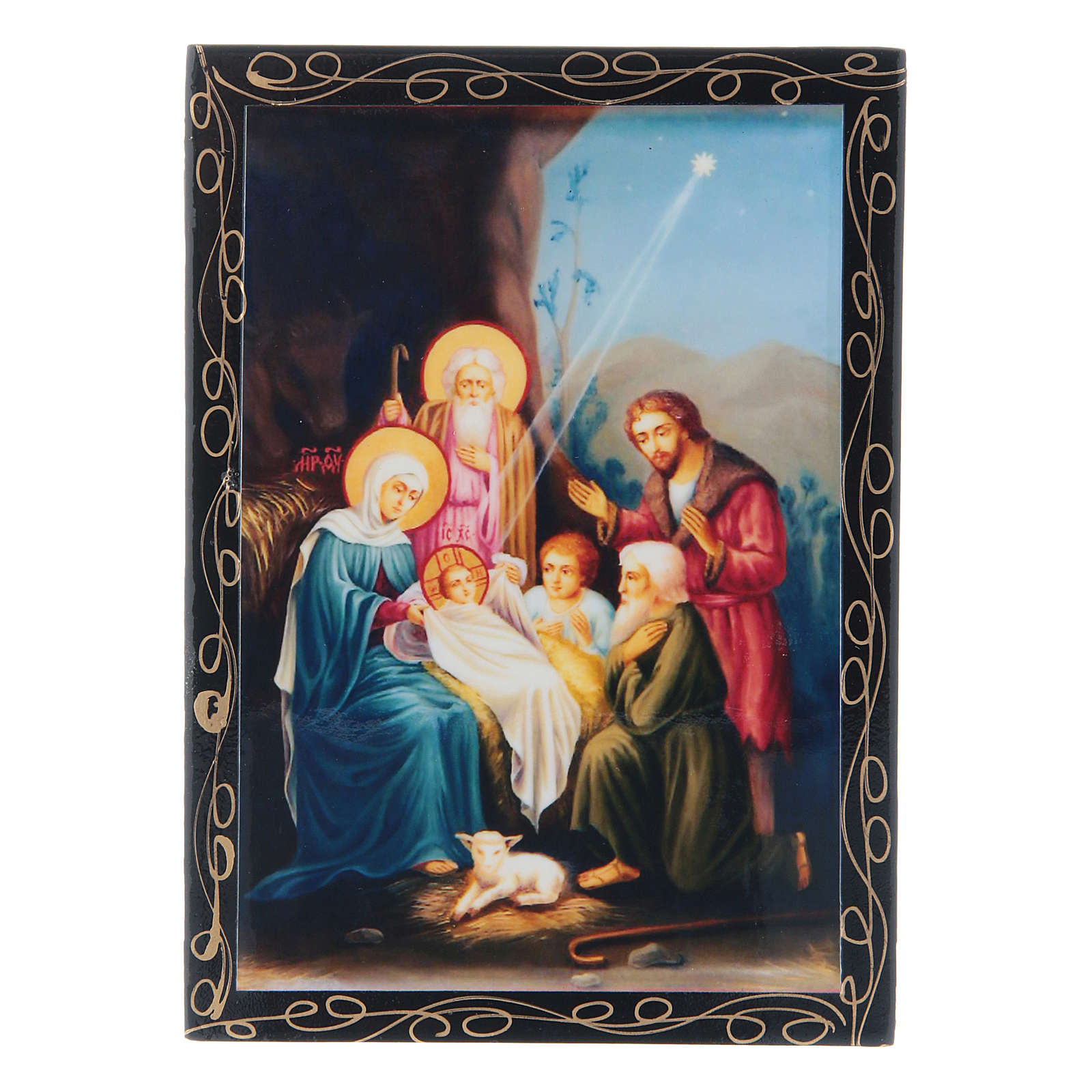 Russian papier-mâché and lacquer painted box The Birth of Jesus Christ 14x10 cm 4