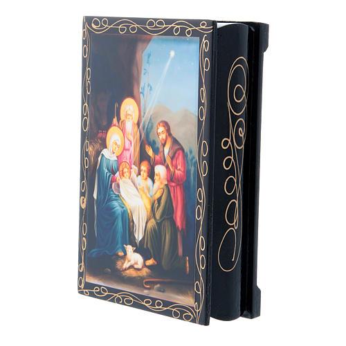 Lacca papier machè cartapesta decorata La Nascita di Gesù Cristo 14X10 cm 2