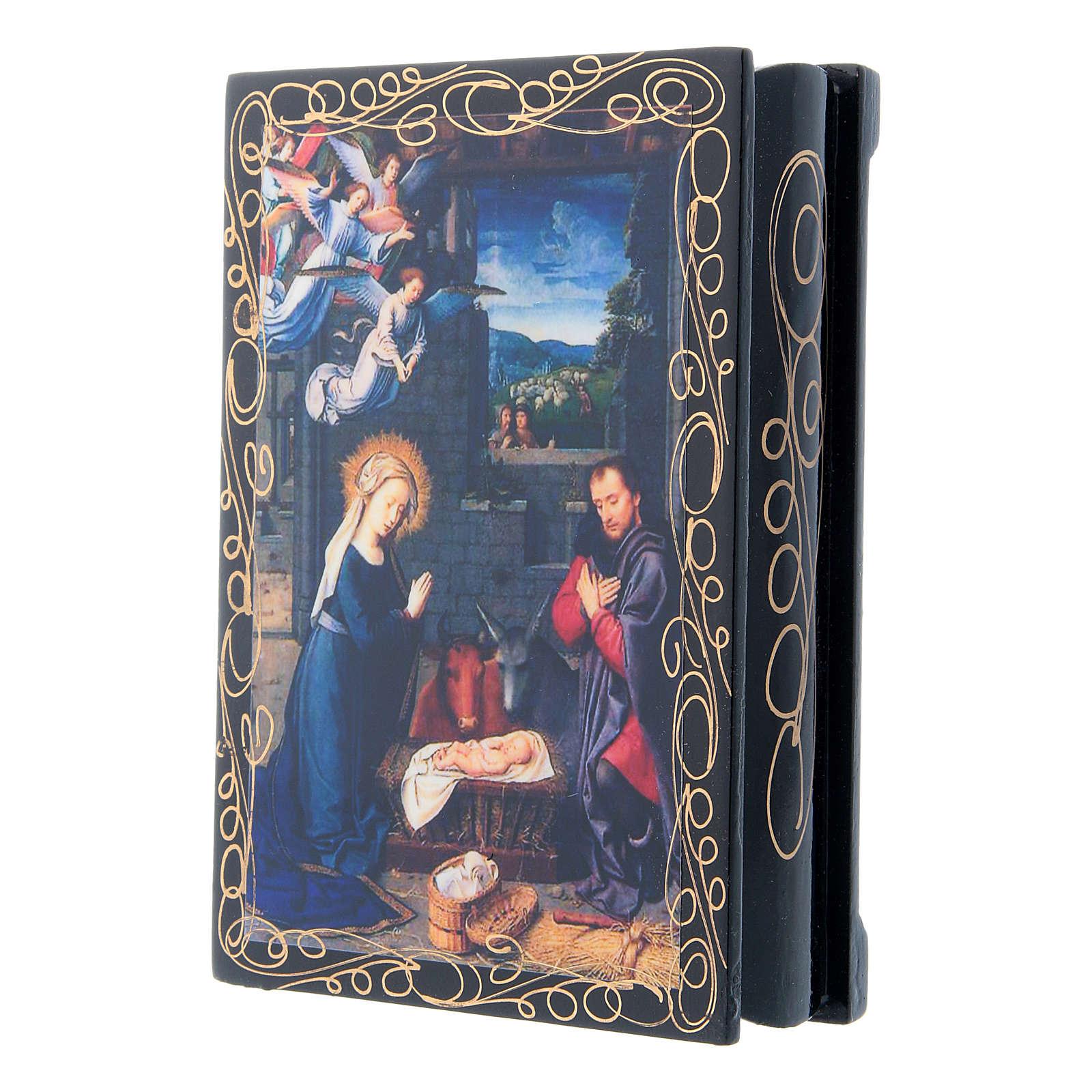 Scatoletta russa papier machè decoupage La Nascita di Gesù Cristo 14X10 cm 4