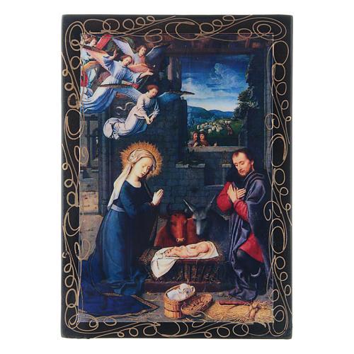 Scatoletta russa papier machè decoupage La Nascita di Gesù Cristo 14X10 cm 1