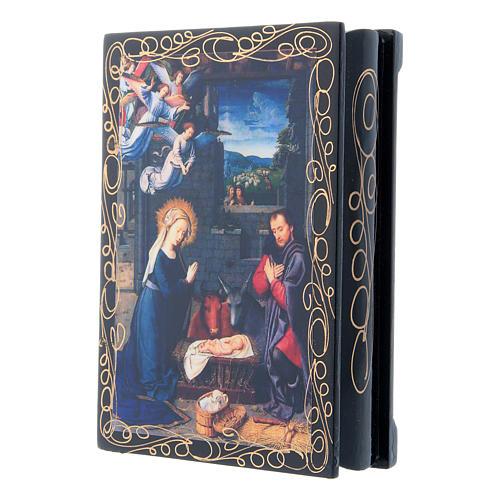 Scatoletta russa papier machè decoupage La Nascita di Gesù Cristo 14X10 cm 2