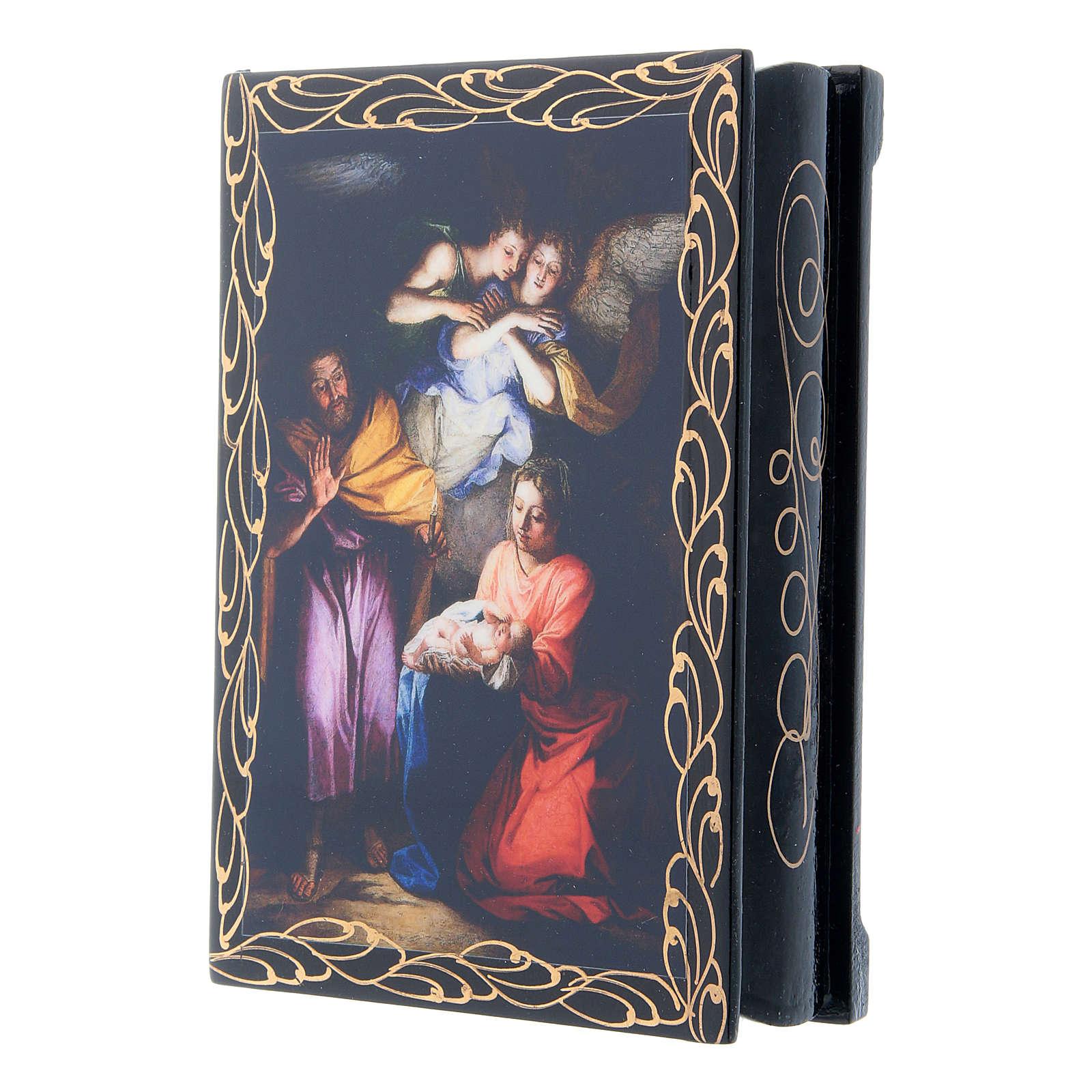 Scatola cartapesta russa decoupage Noël 14X10 cm 4