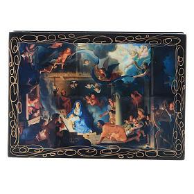 Scatoletta decorata cartapesta russa La Nascita di Gesù Cristo e Adorazione dei Magi 14X10 cm s1