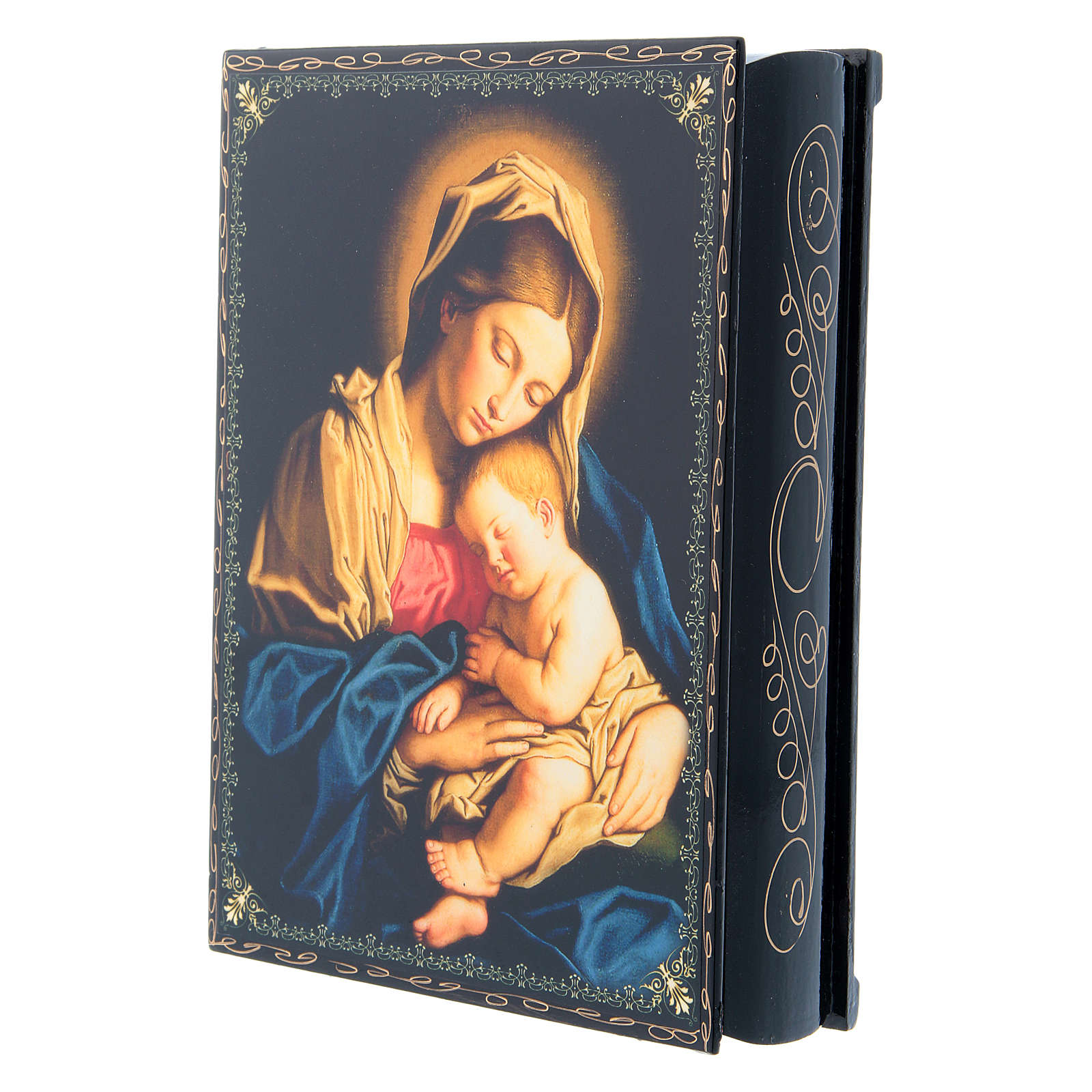 Russian papier-mâché and lacquer painted box Madonna with Child 22x16 cm 4