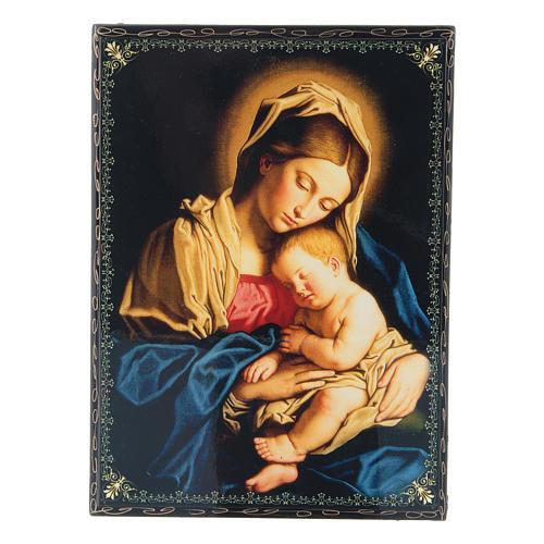 Scatola cartapesta decoupage russa Madonna col Bambino 22X16 cm 1