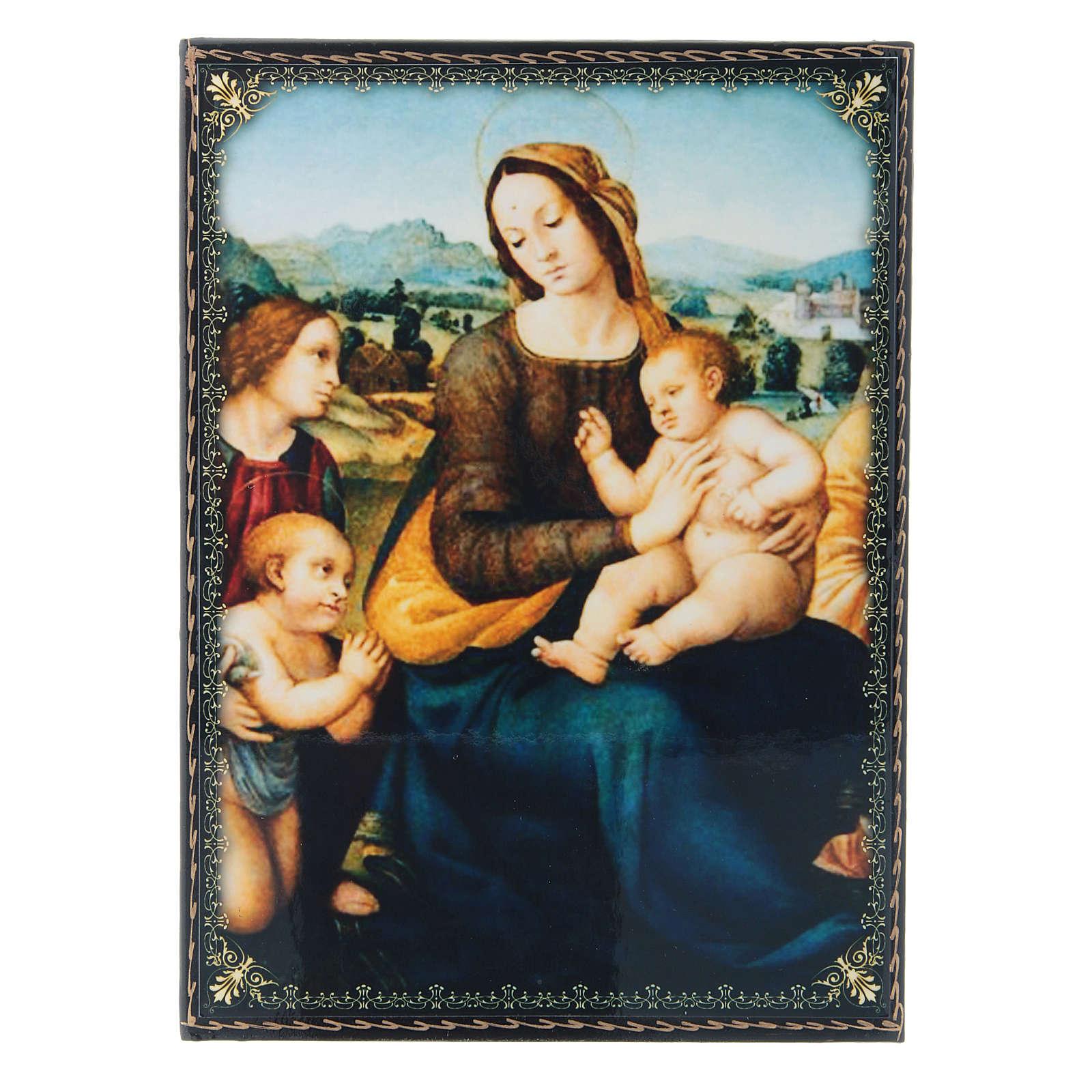 Scatola russa cartapesta decorata Madonna col Bambino, S. Giovannino e Angeli 22X16 cm 4