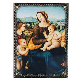 Scatola russa cartapesta decorata Madonna col Bambino, S. Giovannino e Angeli 22X16 cm s1