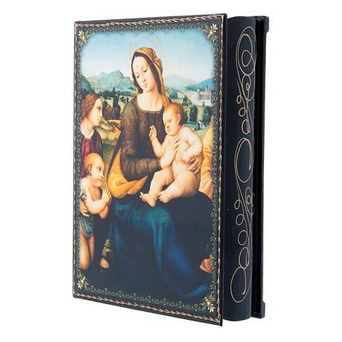 Scatola russa cartapesta decorata Madonna col Bambino, S. Giovannino e Angeli 22X16 cm 2