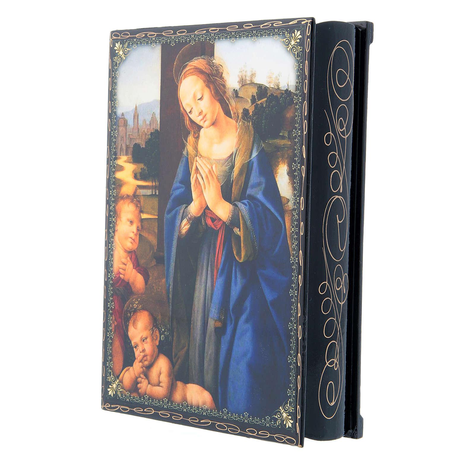 Russian papier-mâché and lacquer painted box Madonna adoring the Child 22x16 cm 4