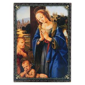 Russian papier-mâché and lacquer painted box Madonna adoring the Child 22x16 cm s1