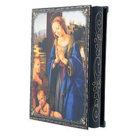 Russian papier-mâché and lacquer painted box Madonna adoring the Child 22x16 cm s2