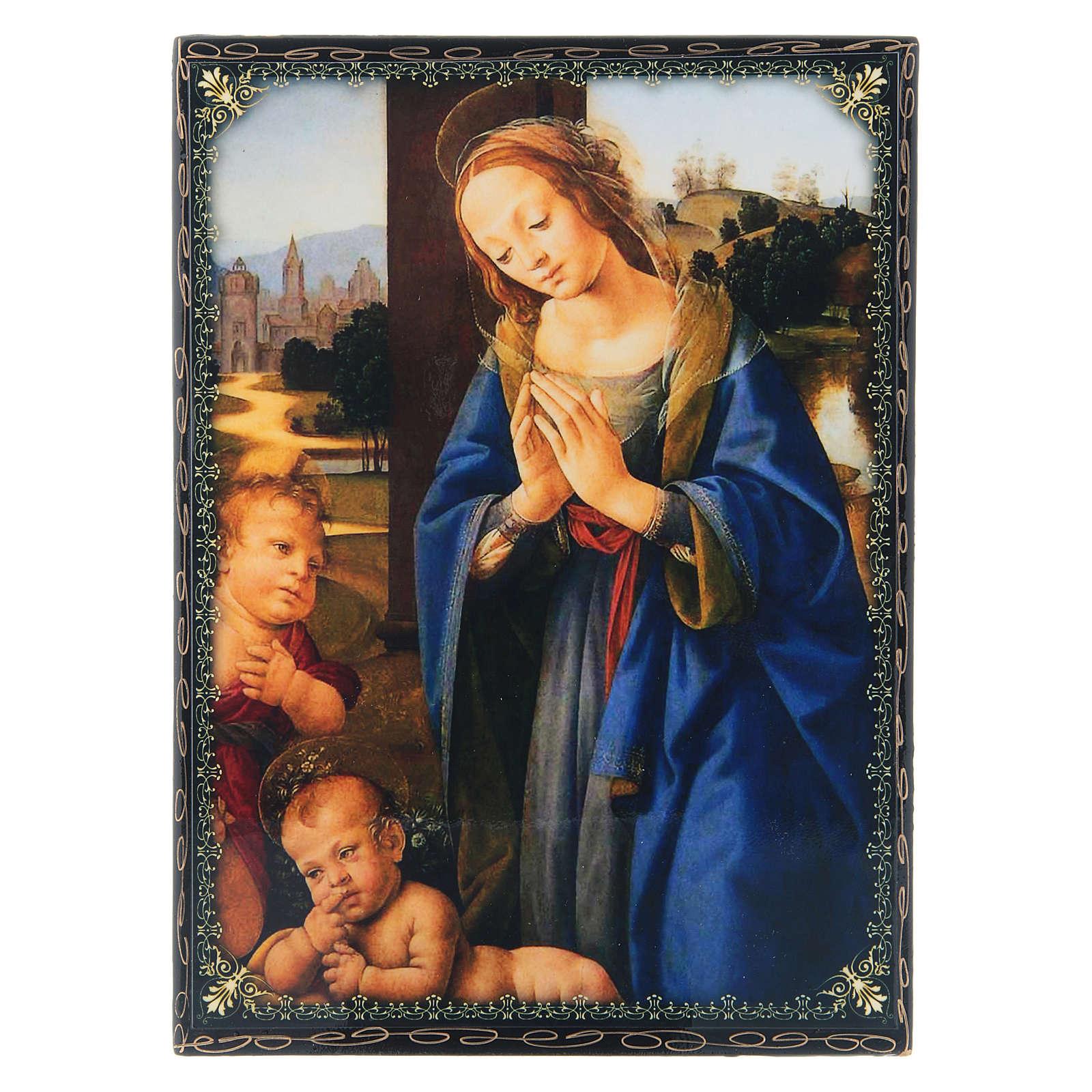Lacca russa decorata decoupage Adorazione del Bambino con San Giovannino 22X16 cm 4