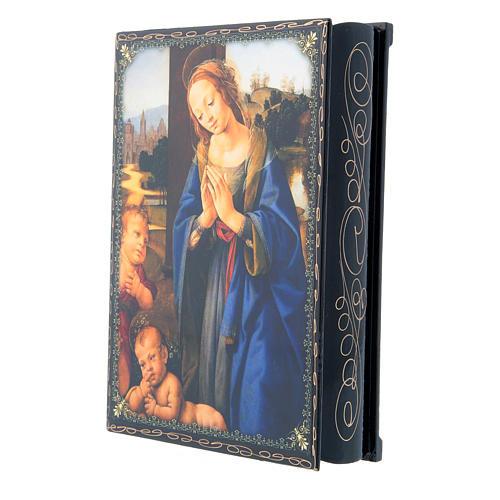 Lacca russa decorata decoupage Adorazione del Bambino con San Giovannino 22X16 cm 2